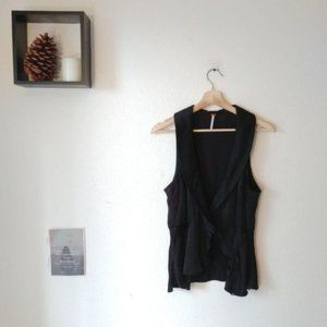 Free People Black Sheen Sleeveless Vest Top